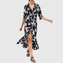 a0027eb0ce Quick View Window OpenWishAdd to Cart. rate:new. Boho Floral Print Chiffon Beach  Dress Women Sexy V-Neck High Split Party Dress Casual Summer Spring