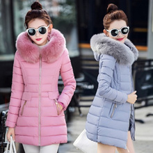 165f4a07aaf DOWN COTTON Fur Hoodie Slim Fit Middle Length Down Cotton Winter Coat