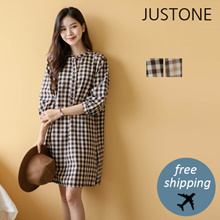 [JUSTONE❤] Beno Check One Piece / Free Shipping / Korean Fashion