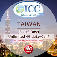 ◆ICC◆【Taiwan SIM Card·5-15 Days】❤ Unlimited 4G Data + Call* + Free Incoming Call ❤ No Slow Speed