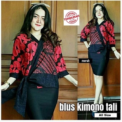 Blouse Kimono Tali Merah
