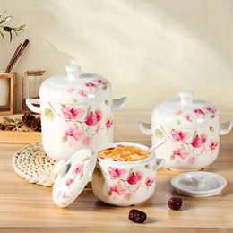 Shunxiang porcelain light dancing double covered stew-proof bird s nest soup mug with lid heat-resis