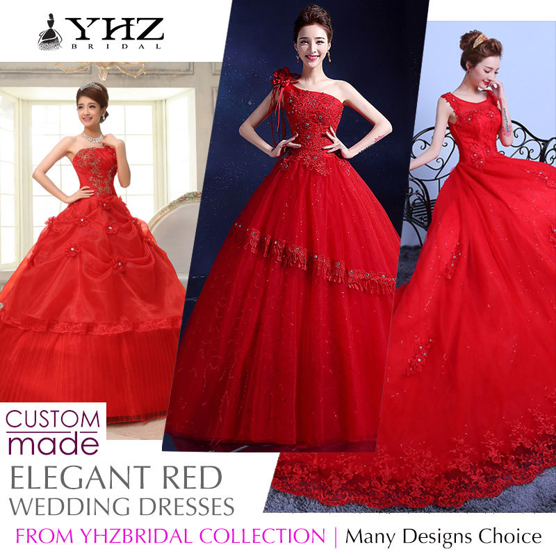 YHZBridalRoyal Red Bridal Gown Plus Size Beaded Lace Court Train Ball Gown  Wedding Dresses Sleeves Gowns