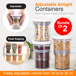 Adjustable Airtight Containers Push Down Bottle Kitchen Storage Jars Save Space Keep Food Fresh