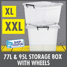 XL/XXL Storage Boxes With Wheels ♦ 77L  - 95L Capacity ♦ Strong And Durable ♦ 100% Virgin PP
