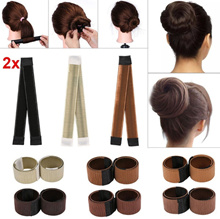 2x Hair Bun Maker coiffure Donut Styling Band Ancien Mousse Franais Twist DIY Outil magique