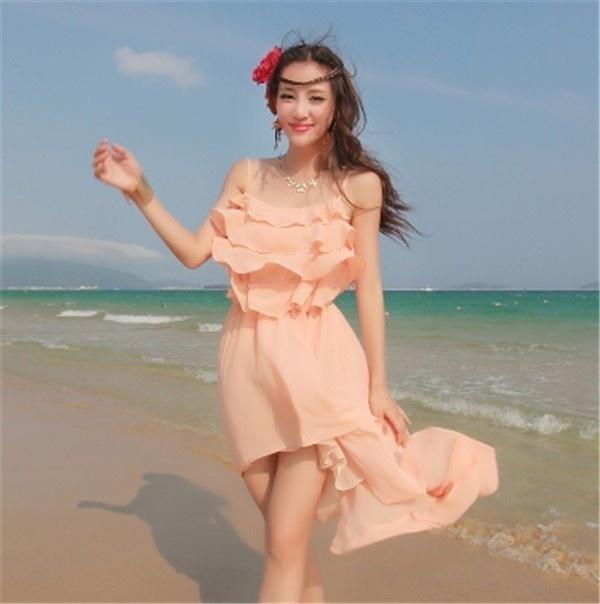 レディースワンピース ビーチワンピース 砂浜 フリル シフォン ファッション ハイセンス 着心地いい おしゃれ 夏 レディースワンピース