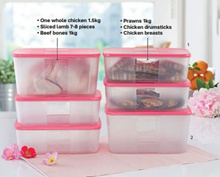 Tupperware FreezerMate Super Value Set (6/8pcs) Fridge Storage Keep food Fresher - Pink