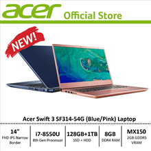 Acer Swift 3 SF314-54G Narrow Border Design Laptop - 8th Gen i7 Processor with Graphics Card