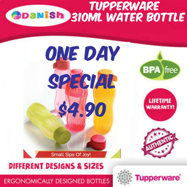 Authentic Tupperware Aquasafe Eco Fliptop Water Bottle Deals for only S$23.9 instead of S$0
