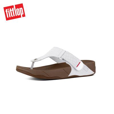 95f83f2c45f5 Qoo10 - Fitflop™ Bando Lizard-Print Leather Toe-Thong Urban Whit   Shoes