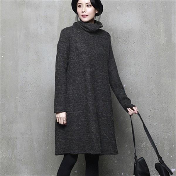 J202ルーズフィットタートルネックニット・ワンピースnew ニットワンピース/ワンピース/韓国ファッション