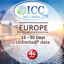 ◆ ICC◆【Europe Sim Card · 15/30 Days】4GLTE+Unlimited Data❤6GB 4G/3GData ❤Include Russia/Balkans*