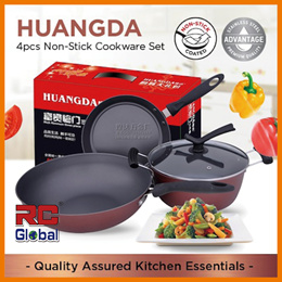 Non-Stick Frying Pan Frying wok Soup Pot 4 pcs set - Huangda (24x24x32 cm with 1 covers )