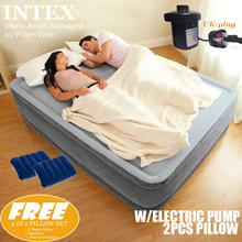 INTEX Essential Horizontal Beam AIRBED with Fiber-Tech+Electric pump*2pcs Pillow FREE*Queen(Full)