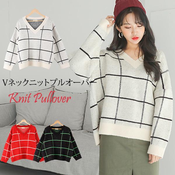 【韓国ファッション】【送料無料】【Vネックスクエアポイントニットプルオーバー】配色のスクエアポイントのオーバーサイズのニットプルオーバー