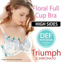 Triumph x Shirohato High Sided Floral Full Cup Bra (Sizes D-F 70-85)(0510192234DEF)