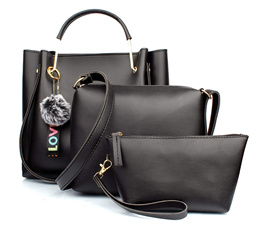 29K Women Handbag with Sling Bag  Pouch (Set of 3) - Black