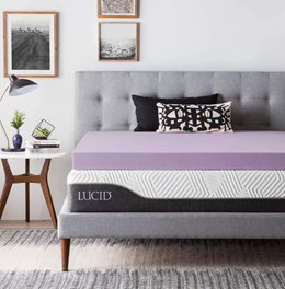 LUCID 3 Inch Lavender Infused Memory Foam Mattress Topper - Ventilated Design - Twin XL Size