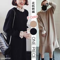 レイヤード風レースニットワンピース💛M~2XLまで✨上品 韓国ファッション 大人 長袖ワンピース【人気 ミディアムワンピース  体型カバー ゆったり  冬】