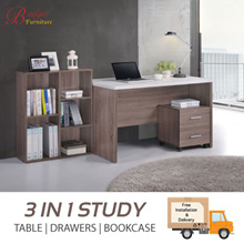 3 IN 1 STUDY TABLE SET. DIFFERENT STYLES. TABLE + DRAWER + BOOK CASE