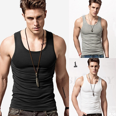 bd9289a99e6abe New Fashion Mens T-Shirts Weste Undershirt Spaghetti Strap Tank Tops Slim  Man Muscle Vest
