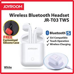 JR-T03 TWS Wireless Bluetooth headset  Charging Case. Wireless Charging White