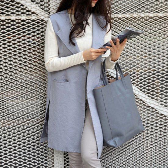 ロング/ショールカラベスト/ 韓国ファッション