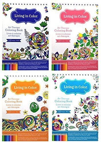 Color Factory Art Therapy Coloring Books For Adults Living In Color Portable Spiral Bound 4 Book Bun