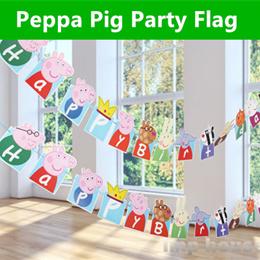 ★IMP HOUSE★ Peppa Pig Birthday Party Flag Kids Birthday Decoration