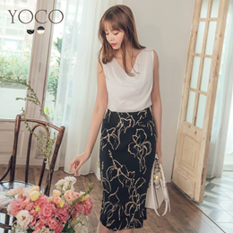 YOCO - Wrinkle Tops,  Ink-printing Long Skirt, Two-piece-190351