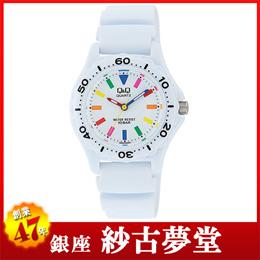 Q&Q 腕時計  キューアンドキュー スポーツタイプ アナログ表示 10気圧防水 ホワイト×マルチカラー VR25-002 レディース【4966006064117-VR25-0 【メール便】