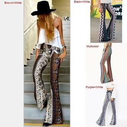Modern Women Casual Loose Pattern Print Bell-bottoms Female Vintage Style Wide Leg Pants Outdoor Jog
