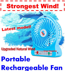 Portable Rechargeable Fan mini USB Fan indoor outdoor FREE Rechargeable Battery and cable Operated Strong Cold Wind Long Lasting Lithium Battery