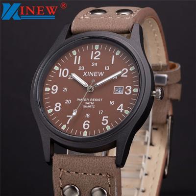 aa9dd9e2437 discount XINEW Watch Men Relogio Masculino Vintage Classic Men s Date  Leather Strap Sport Quartz Arm