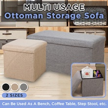 Ottoman Fabric Storage Box / Sofa Seat Stool Organizer Bench Home Living
