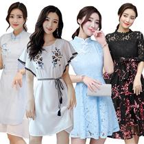 S-4XL Korean style Slim lace Chiffon dress/Long sleeve Dress/Sleeveless Short sleeve/OL/Occupation