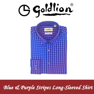 GoldlionGOLDLION Classic Mens Long-Sleeved Shirts (Blue and Purple Stripes)