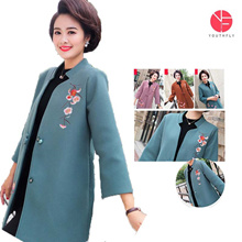15f34be8fab8 Mother spring woolen coat in the long section 40-50 years old middle-aged