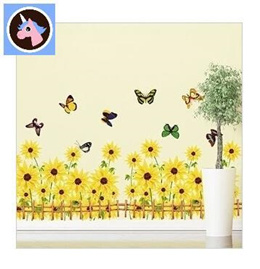 Sunflower fence glass sticker affixed to the study of three generations living room baseboard Remova