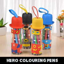 Hero Magic Coloring Pens Bottle Colour Pencil Kids Boy Girl Stationery Goodies Bag Student Gift