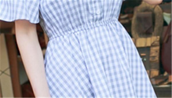レディースワンピース 韓国無地 スリム 韓国のファッション 一字襟ワンピース  チェックワンピース 麻綿 プリントワンピース  学院風 ハイセンス 着心地いい おしゃれ 夏 スリム セール★ レディー
