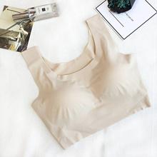 No rims gather one piece seamless underwear shockproof silk bra bra vest comfortable sleep bra femal