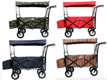 Folding Pet Wagon Stroller W/ Roof Canopy Collapsible Outdoor Utility Garden Wagon Shopping Cart