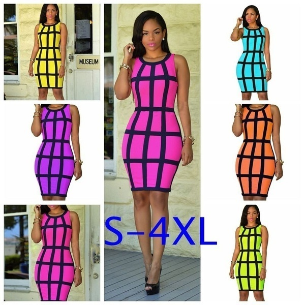 New Women#39s Fashion Plus Size Women Sexy Striped Hourglass Shape Bodycon  Check Print Mini Dress Cl