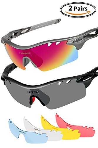 a201c7b65a6  TSAFRER  Polarized Sunglasses Mens Sunglasses 2 Pairs Sports Sunglasses  with 4 Interchangeable Lens