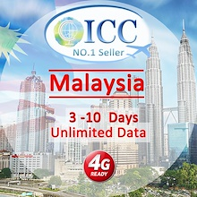 ◆ ICC◆【Malaysia Sim Card 3-10 Days】❤4GLTE data+Unlimited datal❤Plug and Use❤ No need registeration❤