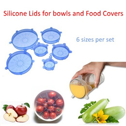 Silicone Stretch Lids/ Food Cover/ Flexible/ Can/ Bottle Opener/ Strong Seal/ Microwave-Safe/ Wrap/