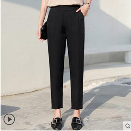 Black lady Panties work professional formal suit pants female spring and summer straight tube loose