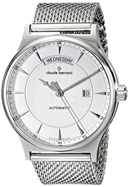 Claude bernard Claude Bernard Mens 83014 3M AIN Classic Gents Automatic Day-Date Analog Display Swiss Automatic Silver Watch